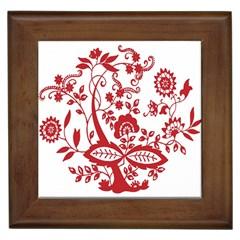 Red Vintage Floral Flowers Decorative Pattern Clipart Framed Tiles