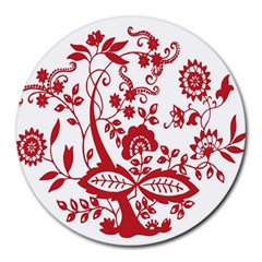 Red Vintage Floral Flowers Decorative Pattern Clipart Round Mousepads