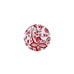 Red Vintage Floral Flowers Decorative Pattern Clipart 1  Mini Magnets
