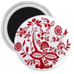 Red Vintage Floral Flowers Decorative Pattern Clipart 3  Magnets