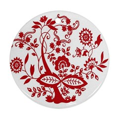 Red Vintage Floral Flowers Decorative Pattern Clipart Ornament (Round)