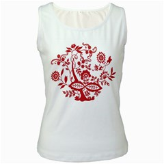 Red Vintage Floral Flowers Decorative Pattern Clipart Women s White Tank Top