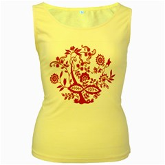 Red Vintage Floral Flowers Decorative Pattern Clipart Women s Yellow Tank Top
