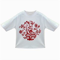 Red Vintage Floral Flowers Decorative Pattern Clipart Infant/Toddler T-Shirts