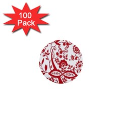 Red Vintage Floral Flowers Decorative Pattern Clipart 1  Mini Buttons (100 pack)