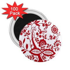 Red Vintage Floral Flowers Decorative Pattern Clipart 2 25  Magnets (100 Pack)