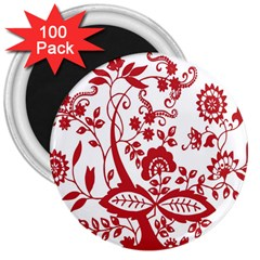 Red Vintage Floral Flowers Decorative Pattern Clipart 3  Magnets (100 Pack)
