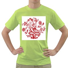 Red Vintage Floral Flowers Decorative Pattern Clipart Green T-Shirt