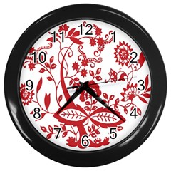 Red Vintage Floral Flowers Decorative Pattern Clipart Wall Clocks (black)