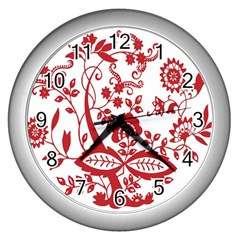 Red Vintage Floral Flowers Decorative Pattern Clipart Wall Clocks (silver)
