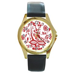 Red Vintage Floral Flowers Decorative Pattern Clipart Round Gold Metal Watch
