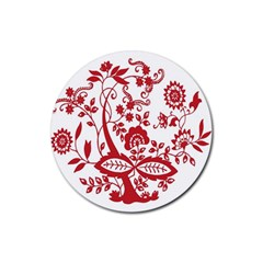 Red Vintage Floral Flowers Decorative Pattern Clipart Rubber Coaster (Round)