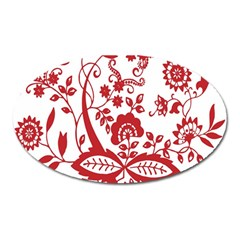 Red Vintage Floral Flowers Decorative Pattern Clipart Oval Magnet