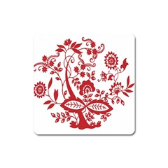 Red Vintage Floral Flowers Decorative Pattern Clipart Square Magnet