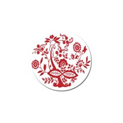 Red Vintage Floral Flowers Decorative Pattern Clipart Golf Ball Marker
