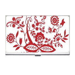Red Vintage Floral Flowers Decorative Pattern Clipart Business Card Holders