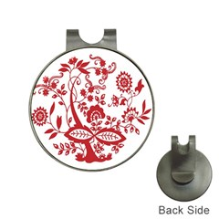 Red Vintage Floral Flowers Decorative Pattern Clipart Hat Clips with Golf Markers