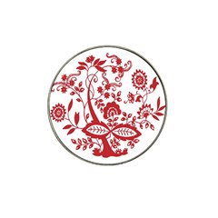 Red Vintage Floral Flowers Decorative Pattern Clipart Hat Clip Ball Marker (4 Pack)