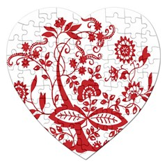 Red Vintage Floral Flowers Decorative Pattern Clipart Jigsaw Puzzle (Heart)