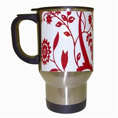 Red Vintage Floral Flowers Decorative Pattern Clipart Travel Mugs (white)