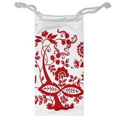 Red Vintage Floral Flowers Decorative Pattern Clipart Jewelry Bag