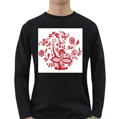 Red Vintage Floral Flowers Decorative Pattern Clipart Long Sleeve Dark T-Shirts