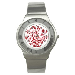 Red Vintage Floral Flowers Decorative Pattern Clipart Stainless Steel Watch
