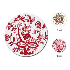 Red Vintage Floral Flowers Decorative Pattern Clipart Playing Cards (Round)