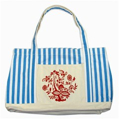 Red Vintage Floral Flowers Decorative Pattern Clipart Striped Blue Tote Bag