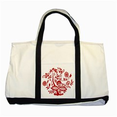 Red Vintage Floral Flowers Decorative Pattern Clipart Two Tone Tote Bag