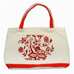 Red Vintage Floral Flowers Decorative Pattern Clipart Classic Tote Bag (Red)