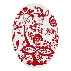 Red Vintage Floral Flowers Decorative Pattern Clipart Oval Ornament (Two Sides)