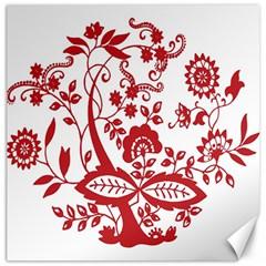 Red Vintage Floral Flowers Decorative Pattern Clipart Canvas 20  X 20