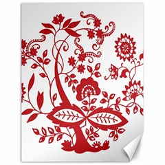 Red Vintage Floral Flowers Decorative Pattern Clipart Canvas 18  X 24