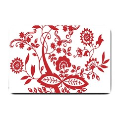 Red Vintage Floral Flowers Decorative Pattern Clipart Small Doormat
