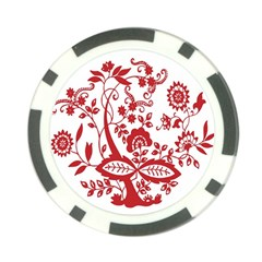 Red Vintage Floral Flowers Decorative Pattern Clipart Poker Chip Card Guard
