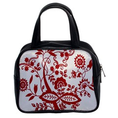 Red Vintage Floral Flowers Decorative Pattern Clipart Classic Handbags (2 Sides)