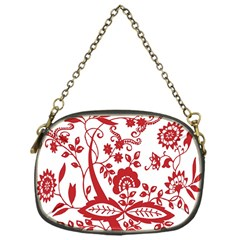 Red Vintage Floral Flowers Decorative Pattern Clipart Chain Purses (one Side)