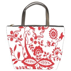 Red Vintage Floral Flowers Decorative Pattern Clipart Bucket Bags