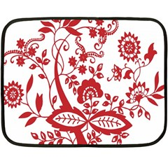 Red Vintage Floral Flowers Decorative Pattern Clipart Double Sided Fleece Blanket (mini)
