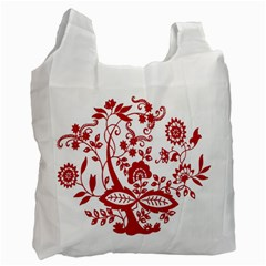 Red Vintage Floral Flowers Decorative Pattern Clipart Recycle Bag (one Side)