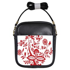 Red Vintage Floral Flowers Decorative Pattern Clipart Girls Sling Bags