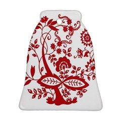 Red Vintage Floral Flowers Decorative Pattern Clipart Ornament (bell)