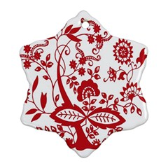 Red Vintage Floral Flowers Decorative Pattern Clipart Snowflake Ornament (two Sides)