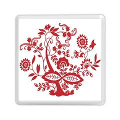 Red Vintage Floral Flowers Decorative Pattern Clipart Memory Card Reader (square)