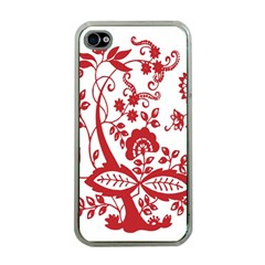 Red Vintage Floral Flowers Decorative Pattern Clipart Apple iPhone 4 Case (Clear)