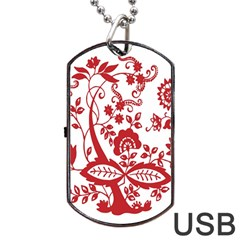 Red Vintage Floral Flowers Decorative Pattern Clipart Dog Tag Usb Flash (one Side)