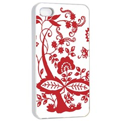 Red Vintage Floral Flowers Decorative Pattern Clipart Apple Iphone 4/4s Seamless Case (white)