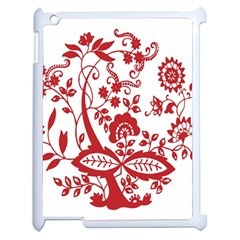 Red Vintage Floral Flowers Decorative Pattern Clipart Apple iPad 2 Case (White)