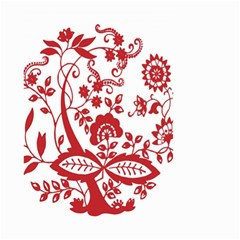 Red Vintage Floral Flowers Decorative Pattern Clipart Small Garden Flag (Two Sides)